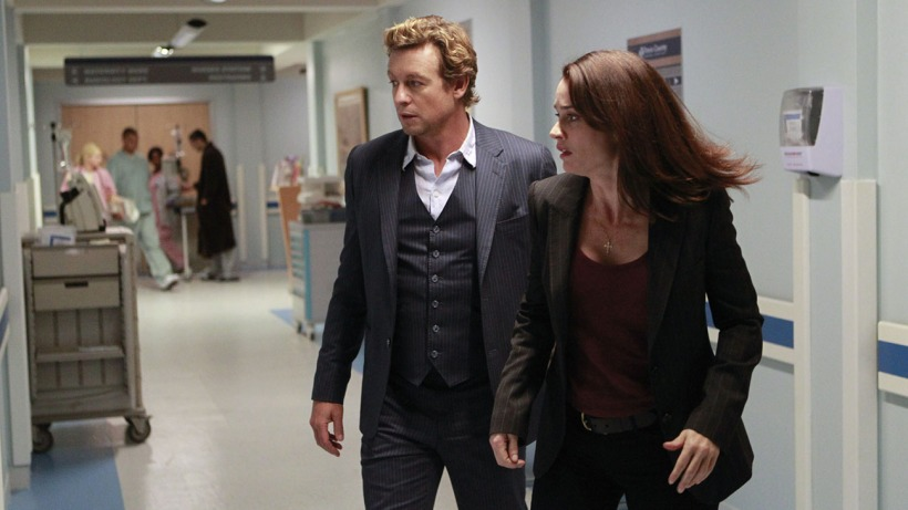 """Nothing Gold Can Stay"" -- Jane takes extreme measures as the team tries to apprehend a deadly gang of armored car robbers before their desperation to remain free costs more innocent people their lives, on THE MENTALIST, Wednesday, Feb. 4 (8:00-9:00 PM, ET/PT), on the CBS Television Network. Pictured: Simon Baker as Patrick Jane, Robin Tunney as Teresa Lisbon. Photo: Sonja Flemming/CBS ©2014 CBS Broadcasting, Inc. All Rights Reserved"